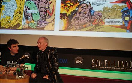 Alex Fitch talks to Kevin O Neill at Sci-Fi London below a couple of pages from Metalzoic