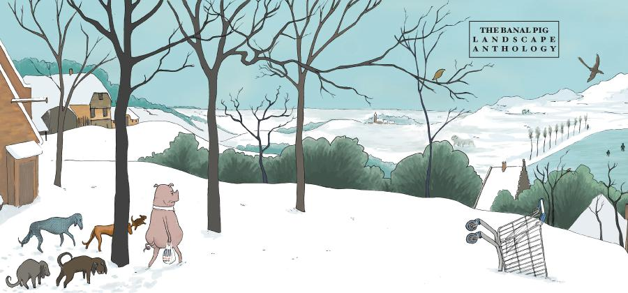 Cover of the Banal Pig Landscape anthology by Steve Tillotson and Gareth Brooks