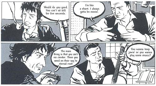 Johnny Cash meets Bob Dylan in a couple of panels from I see a Darkness by Reinhard Kleist