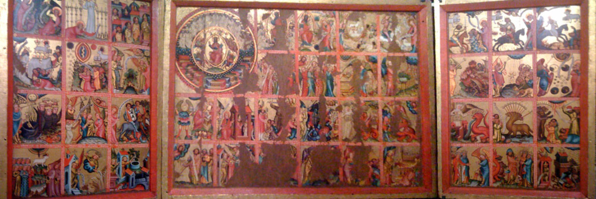 Triptych with scenes from the Apocalypse by Master Bertram, Germany circa 1380. Photo by Richard Comline, taken in the Victoria and Albert Museum.
