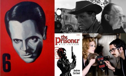 clockwise from left, Number 6, painting by Simon Palmer, Patrick McGoohan on the set of Living in Harmony, Ian Rakoff at Comica, Michael Epstein and  Sophia Cacciola a.k.a. Do not forsake me oh my darling; and the cover of the novel Miss Freedom; by Andrew Cartmel