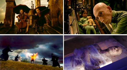 Clockwise from top left: Delicatessen and The City of Lost Children, co-directed by Marc Caro, Dante 01, directed by Caro, Vidocq, designed by Caro