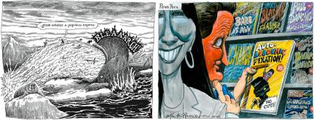 Images from Tristram Shandy and The Guardian newspaper by Martin Rowson
