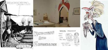 Clockwise from left - excerpt from Tristram Shandy by Martin Rowson, entrance to the reading room in Rude Britannia at Tate Britain, Thatcher by Gerald Scarfe, zine by Josie Long