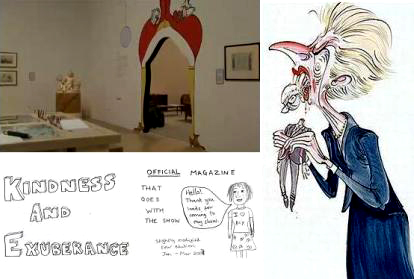 Clockwise from top - part of Rude Britannia curated by Gerald Scarfe, a classic drawing of Thatcher by the artist, cover of a zine by Josie Long