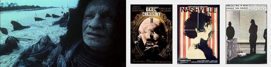 Still from On the Silver Globe by Andrzej Zulawski and posters for The Godfather part II, Nashville and Stranger than Paradise by Andrzej Klimowski and Danusia Schejbal