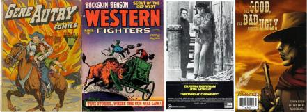 Unusual images of the western - from left to right, Gene Autry comic no. 4, Western Fighters vol.3 no.4, Midnight Cowboy poster, The Good, the Bad and the Ugly, no.1