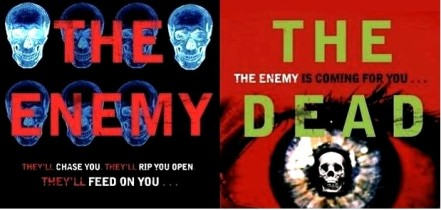 Extracts of the covers from The Enemy and The Dead by Charlie Higson