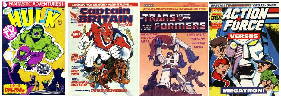 4 covers of Marvel UK titles from the late 70s to mid 80s - Hulk Comic #41,  Captain Britain #1, Transformers #8, Action Force #24