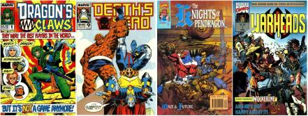 4 covers of Marvel UK titles from the late 80s and early 90s - Dragon's Claws #1, Death's Head #9, The Knights of Pendragon #6, Warheads #1