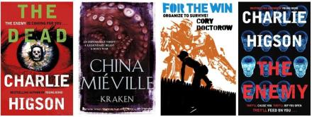 Book covers of Kraken by China Mieville, For the Win by Cory Doctorow, The Dead and The Enemy by Charlie Higson
