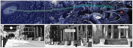 3 pages from Valentine by Alex de Campi and Christine Larsen, 3 panels from Harker by Roger Gibson and Vince Danks
