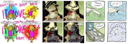 Extracts from Comical animals by Jim Medway, Mouse Guard by David Petersen and Derek the Sheep, or rather Norbert le Mouton, by Gary Northfield