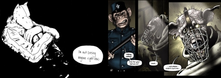 Panels from The Lengths by Howard Hardiman and Grandville Mon Amour by Bryan Talbot