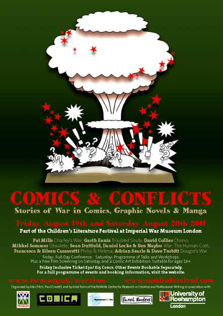 Comics and Conflicts flyer, designed by Peter Stanbury