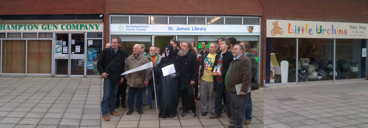 Alan Moore and local residents outside St James Library, Northampton