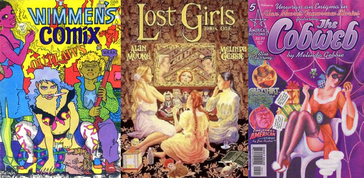 Comics containing art by Melinda Gebbie: Wimmens Comix #7, Lost Girls #1, Tomorrow stories #5