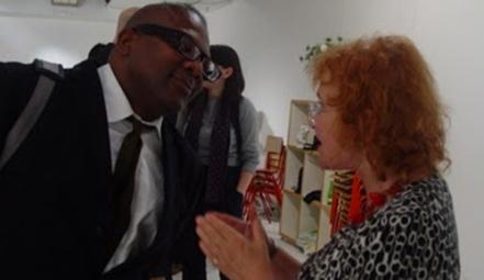 Woodrow Phoenix and Trina Robbins at Laydeez do Comix, photo by Lisa Gornick