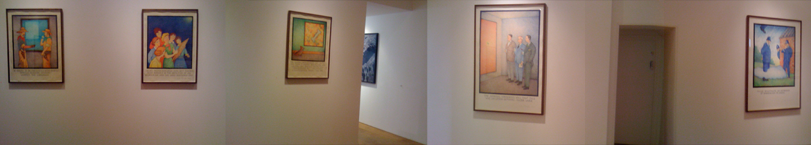 Prints by Glen Baxter on display in Flowers Gallery, Cork Street, London, March 2011