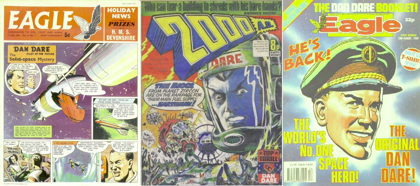 Three anthologies featuring Dan Dare: The Eagle, 2000AD and 1980s Eagle comic