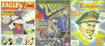Three anthologies featuring Dan Dare: The Eagle, 2000AD and 1980s Eagle comic