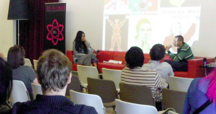V.V. Brown and David Allain discuss City of Abacus, Comics @ SCI-FI-LONDON, BFI Southbank. Photo by Fia Eamónn Wåhlin