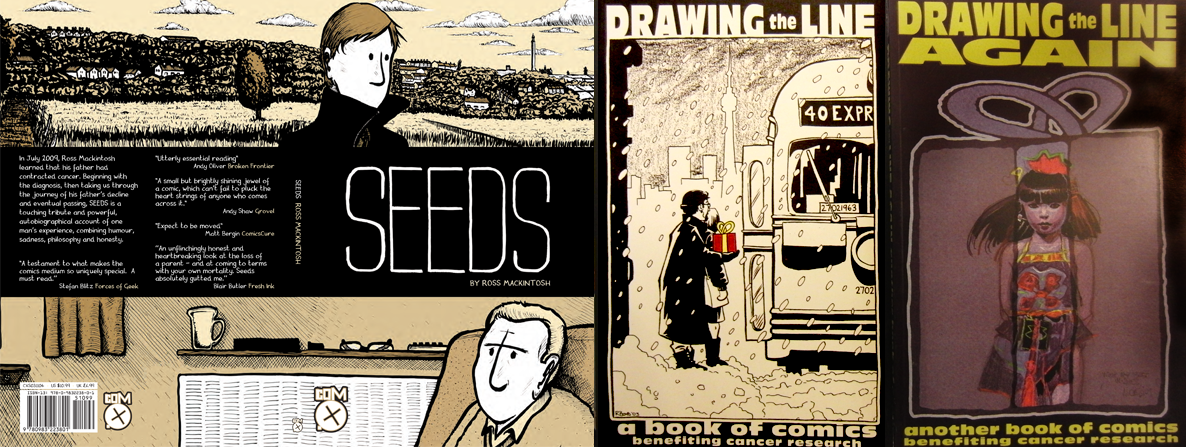 Covers of Seeds by Ross Mackintosh, Drawing the line and Drawing the line again curated by Suley Fattah and Kasra Ghanbari