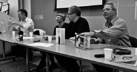 Medical comics panellists: Paul Gravett, Philippa Perry, Darryl Cunningham and Brian Fies, photo by Ian Williams