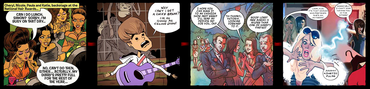 Panels from inFAMOUS: the fame strips by Pat Mills and (left to right) Ellen Lindner, Luke Pearson, Kate Brown and Fay Dalton