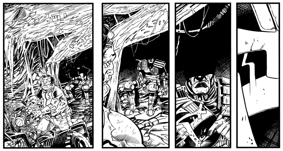 Excerpt from a Judge Dredd strip by P.J. Holden and Gordon Rennie