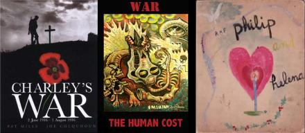 Covers of Charleys War by Mills and Colquhoun, War: The Human Cost by Duffield, Parkard et al. and Philip and Helena by Eileen Cassavetti