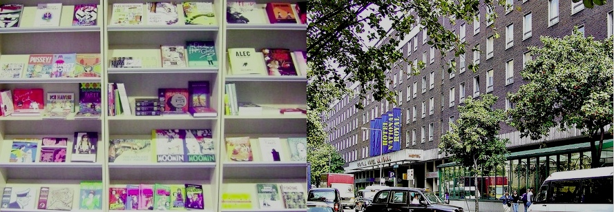 Interior of Plan B books, Glasgow and exterior of the Royal National Hotel, London