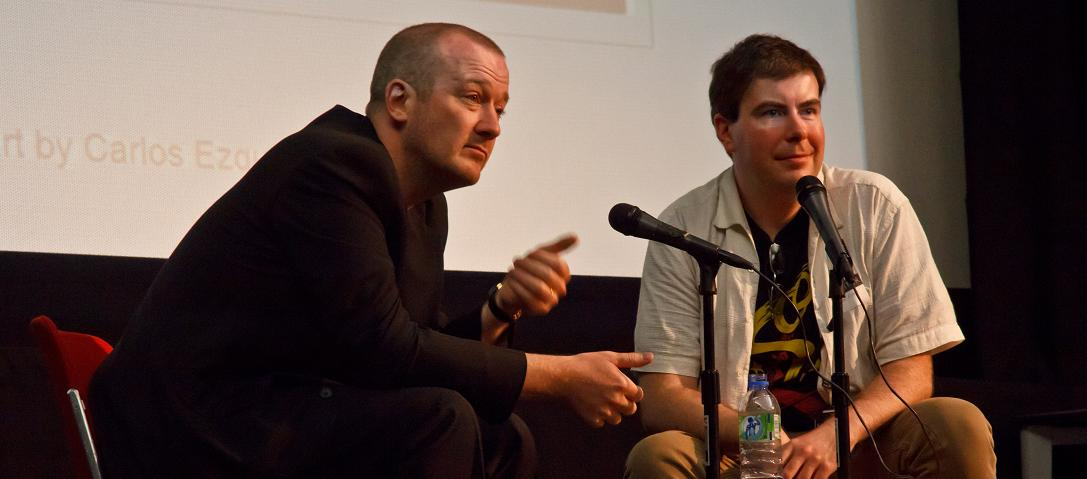 Garth Ennis interviewed by Alex Fitch at the Imperial War Museum, London. Photo by Joe Shahabuddin