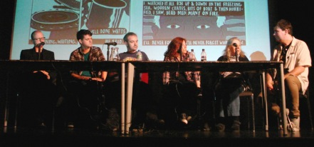 Ben Naylor, Dan Locke, Sean Duffield, Francesca Cassavetti, Eileen Cassavetti and Alex Fitch at the Imperial War Museum (art by Dan Locke, photographed by Jim Walker)