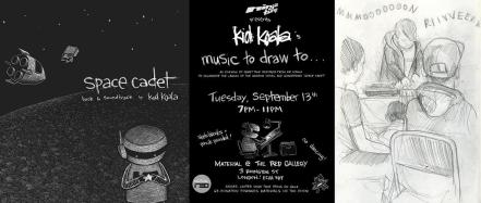Cover of Space Cadet and flyer for Music to draw to by Kid Koala, drawing of Kid Koala at turntable by Andy Paterson