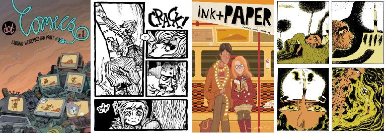 Cover of dot Comics and interior page by Josceline Fenton, ink+PAPER and interior page by Barnaby Richards