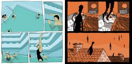 Excerpts from A taste of Chlorine by Bastien Vivès and Everything we miss by Luke Pearson