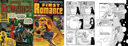 covers of Young Romance #12 (Aug 1949, art by Jack Kirby, Joe Simon and Bill Draut) / First Romance #17 (Sep 1952, artist unknown), pages from The Story of Lee by Sean Michael Wilson and Chie Kutsuwada / Yakuza Moon by Shoko Tendo, Sean Michael Wilson and Michiru Morikawa
