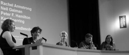 Farah Mendlesohn, Neil Gaiman, Rachel Armstrong, Peter F. Hamilton, and Kari Sperring at The British Library. Photo by Marjorie Taylor