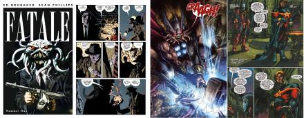 Fatale by Ed Brubaker and Sean Phillips, the Marvel Cancerverse by Dan Abnett and Andy Lanning in Realm of Kings, drawn by Leonardo Manco and The Thanos Imperative drawn by Miguel Sepulveda