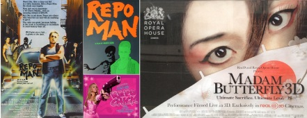 Repo Man film poster and Blu-Ray cover, Repo Chick and Madame Butterfly 3D posters
