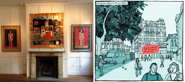 Paintings by Josephine King on display in Riflemaker Gallery / panel from Please God, find me a husband! by Simone Lia