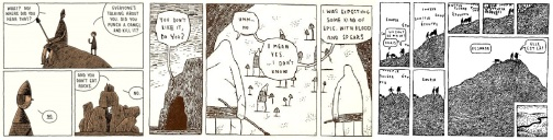 Excerpts from Goliath, Hunter and Painter, and Move to the City (French edition) by Tom Gauld