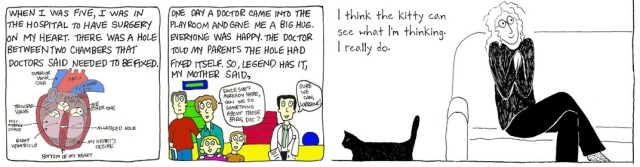 Panels from a Comic Nurse strip by M.K. Czerwiec and Tangles by Sarah Leavitt