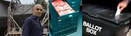 Professor Jim Al-Khalili / Manchester Biobank storage / Redhill ballot box
