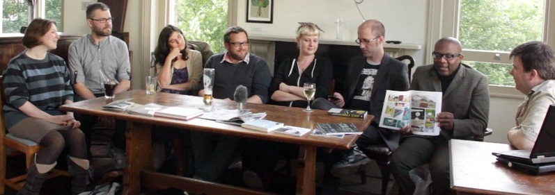 Sarah Gordon, Howard Hardiman, Simone Lia, Gary Northfield, Julia Scheele, Kieron Gillen, Woodrow Phoenix and Alex Fitch at Brockley Max, photo by Annie Kwan