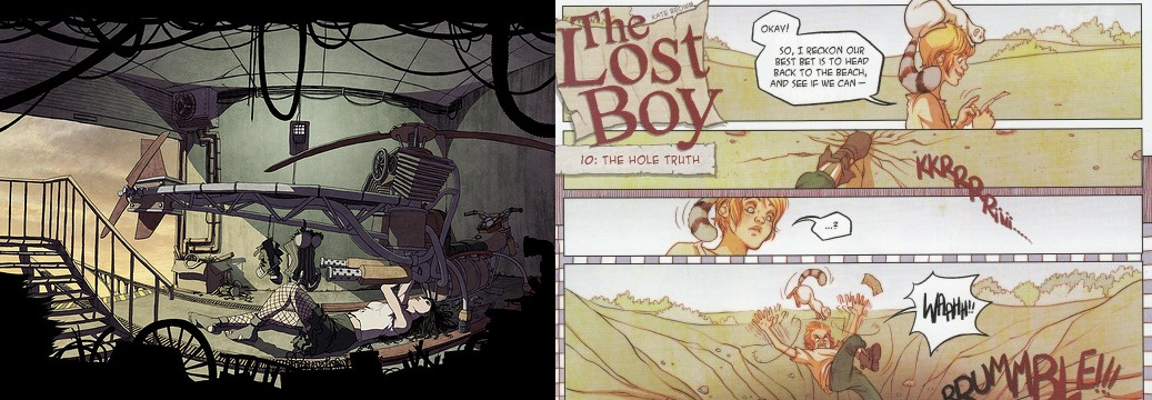 Art from FreakAngels by Paul Duffield and The Lost Boy by Kate Brown