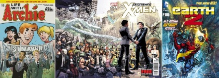 Covers of Life with Archie #16, Astonishing X-Men #51, Earth 2 #2