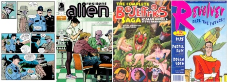 Interior and cover of Resident Alien by Steve Parkhouse + Peter Hogan / Cover of The Bojeffries Saga by Alan Moore and Steve Parkhouse / Cover of Revolver, edited by Peter Hogan
