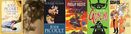 Cover + interior illustration of Between the lines, cover of Wonder Woman: Love and Murder by Jodi Picoult / covers of Mortal Engines + Goblins by Philip Reeve, promotional art for Seawigs by Reeve + McIntyre